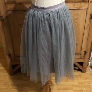 Grey tulle midi skirt